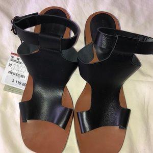 Zara black Leather Sandals with fun heel
